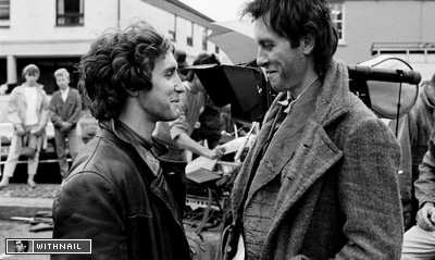 Portrait of Paul McGann and Richard E Grant on set by Murray Close