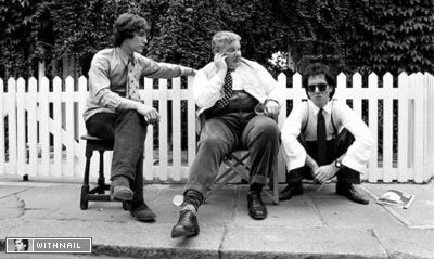 Richard Griffiths and co-stars on the Withnail and I set